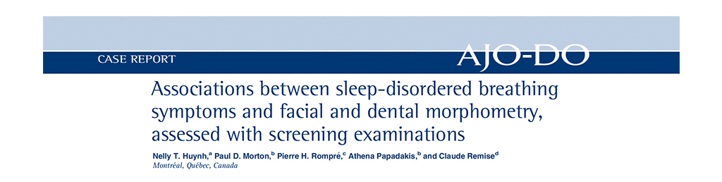 Associations Between Sleep-Disorered Breathing Symptoms and Facial and Dental Morphometry, assessed with screening examinations.
